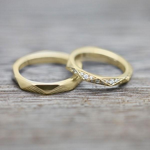 結婚指輪 ペアリング K18YG ダイヤモンド 0.27ct イエローゴールド マリッジリング ミラーカット