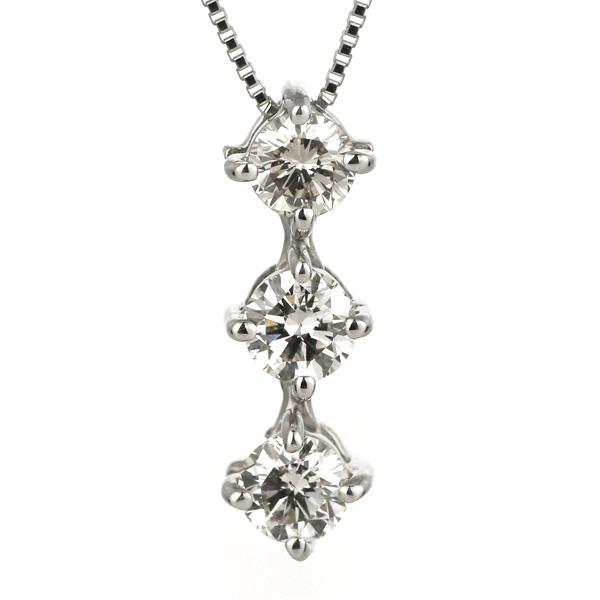 スリーストーン ダイヤモンド ネックレス プラチナ 大粒 0.5カラット 2way トリロジーストーン ギフト プレゼント 結婚記念