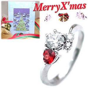 クリスマス限定Xmasカード付CanCam掲載( 婚約指輪 ) ダイヤモンド プラチナエンゲージリング( 1月誕生石 ) ガーネット