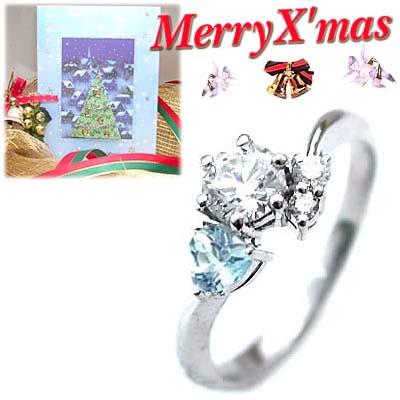 クリスマス限定Xmasカード付( 婚約指輪 ) ダイヤモンド プラチナエンゲージリング( 3月誕生石 ) アクアマリン【DEAL】