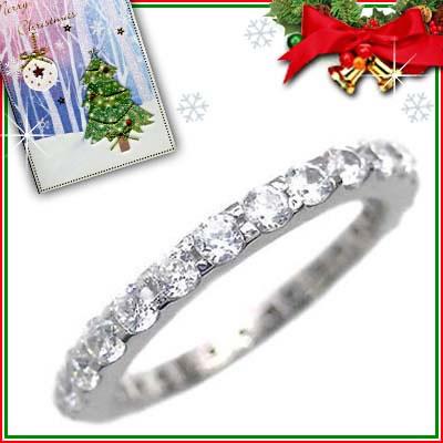 プラチナ リング クリスマス限定Xmasカード付( Brand Jewelry me. ) シルバー925・プラチナコーティング フルエタニティリング【DEAL】