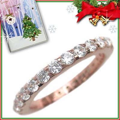 クリスマス限定Xmasカード付( Brand Jewelry me. ) シルバー925・ピンクゴールドコーティング フルエタニティリング【DEAL】