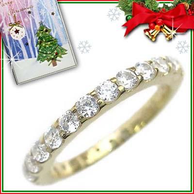 クリスマス限定Xmasカード付( Brand Jewelry me. ) シルバー925・ゴールドコーティング フルエタニティリング【DEAL】