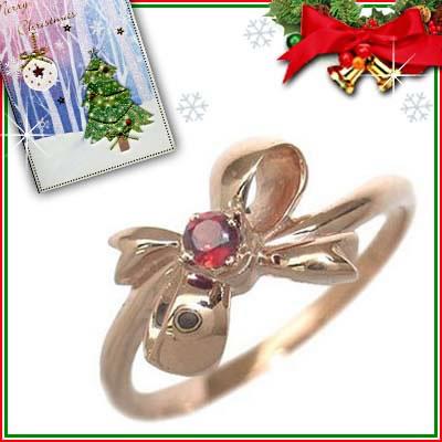 クリスマス限定Xmasカード付( 1月誕生石 ) K18ピンクゴールド ガーネットリング(リボンモチーフ)