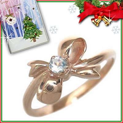 クリスマス限定Xmasカード付( 3月誕生石 ) K18ピンクゴールド アクアマリンリング(リボンモチーフ)