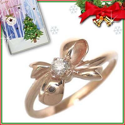 クリスマス限定Xmasカード付( 4月誕生石 ) K18ピンクゴールド ダイヤモンドリング(リボンモチーフ)