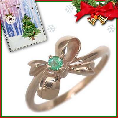 クリスマス限定Xmasカード付( 5月誕生石 ) K18ピンクゴールド エメラルドリング(リボンモチーフ)