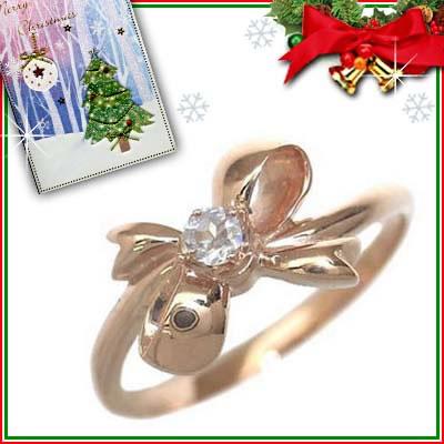 クリスマス限定Xmasカード付( 6月誕生石 ) K18ピンクゴールド ムーンストーンリング(リボンモチーフ)