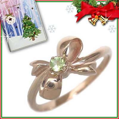 クリスマス限定Xmasカード付( 8月誕生石 ) K18ピンクゴールド ペリドットリング(リボンモチーフ)