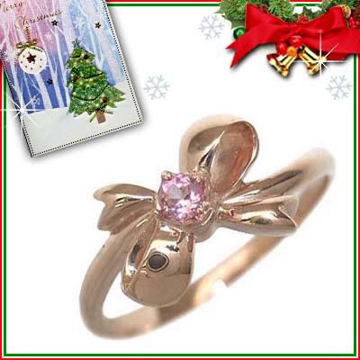 クリスマス限定Xmasカード付( 10月誕生石 ) K18ピンクゴールド ピンクトルマリンリング(リボンモチーフ)