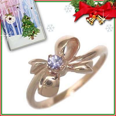 クリスマス限定Xmasカード付( 12月誕生石 ) K18ピンクゴールド タンザナイトリング(リボンモチーフ)