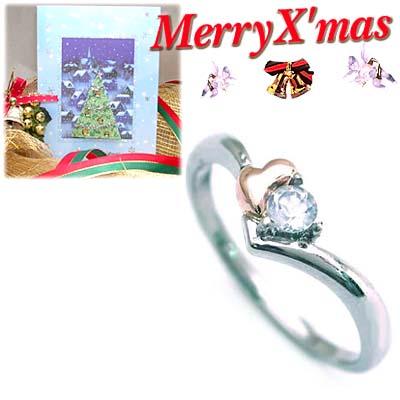 プラチナ リング クリスマス限定Xmasカード付( 6月誕生石 ) プラチナ K18PGムーンストーンデザインリング