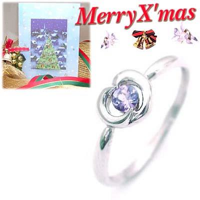 クリスマス限定Xmasカード付( 12月誕生石 ) K18ホワイトゴールド タンザナイトデザインリング【DEAL】