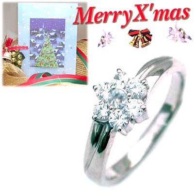 クリスマス限定Xmasカード付( 6月誕生石 ) プラチナ ムーンストーン・ダイヤモンドリング(フラワーモチーフ)