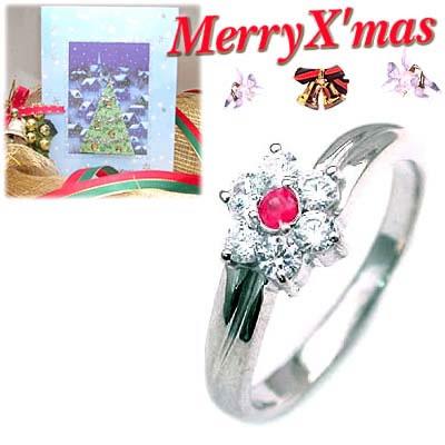 クリスマス限定Xmasカード付( 7月誕生石 ) プラチナ ルビー・ダイヤモンドリング(フラワーモチーフ)