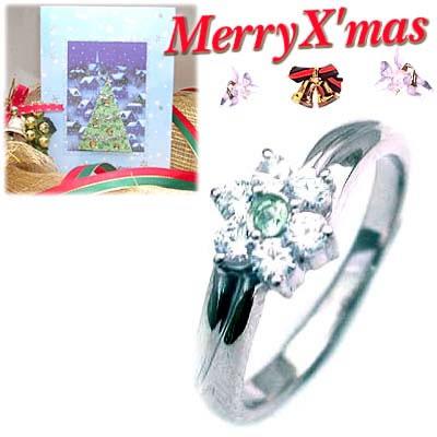 クリスマス限定Xmasカード付( 8月誕生石 ) プラチナ ペリドット・ダイヤモンドリング(フラワーモチーフ)