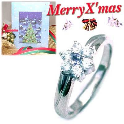 クリスマス限定Xmasカード付( 12月誕生石 ) プラチナ タンザナイト・ダイヤモンドリング(フラワーモチーフ)