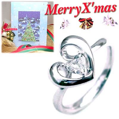クリスマス限定Xmasカード付( 4月誕生石 ) K18ホワイトゴールド ダイヤモンドデザインリングCanCam掲載