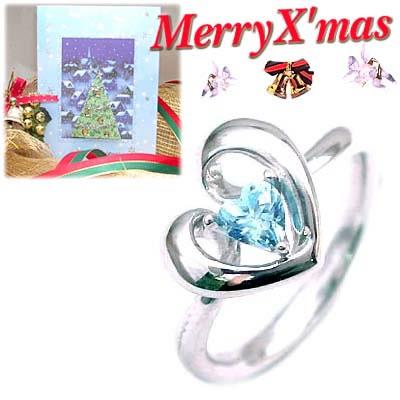 クリスマス限定Xmasカード付( 11月誕生石 ) K18ホワイトゴールド ブルートパーズデザインリングCanCam掲載