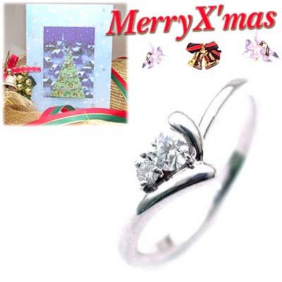 クリスマス限定Xmasカード付( 4月誕生石 ) K18ホワイトゴールド ダイヤモンドデザインリング