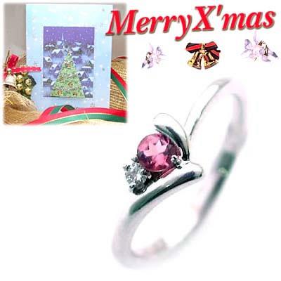クリスマス限定Xmasカード付( 10月誕生石 ) K18ホワイトゴールド ピンクトルマリンデザインリング