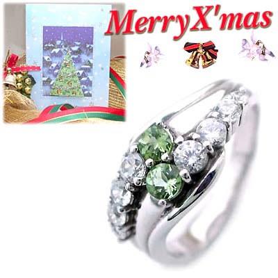 クリスマス限定Xmasカード付( 8月誕生石 ) プラチナ ペリドット・ダイヤモンドリング(結婚10周年記念 )【DEAL】