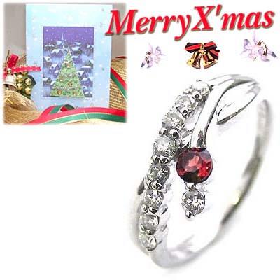 クリスマス限定Xmasカード付結婚10周年記念 プラチナ ガーネット・ダイヤモンドリング