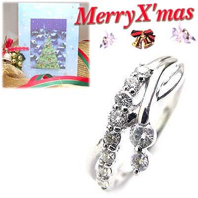 クリスマス限定Xmasカード付( 4月誕生石 ) プラチナ ダイヤモンドリング