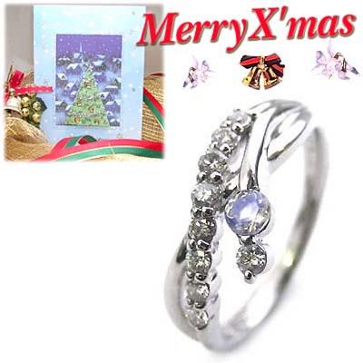 クリスマス限定Xmasカード付結婚10周年記念 プラチナ ムーンストーン・ダイヤモンドリング