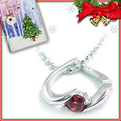 クリスマス限定Xmasカード付( 1月誕生石 ) K18ホワイトゴールド ガーネットペンダントネックレス(ハートモチーフ)