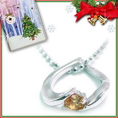 クリスマス限定Xmasカード付( 11月誕生石 ) K18ホワイトゴールド シトリンペンダントネックレス