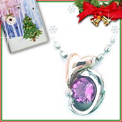クリスマス限定Xmasカード付( 2月誕生石 ) プラチナ K18PGアメジストペンダントネックレス