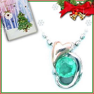 クリスマス限定Xmasカード付( 5月誕生石 ) プラチナ K18PGエメラルドペンダントネックレス