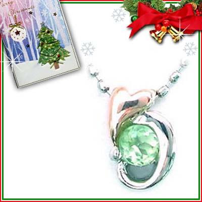 クリスマス限定Xmasカード付( 8月誕生石 ) プラチナ K18PGペリドットペンダントネックレス