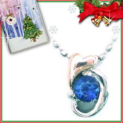 クリスマス限定Xmasカード付( 9月誕生石 ) プラチナ K18PGサファイアペンダントネックレス