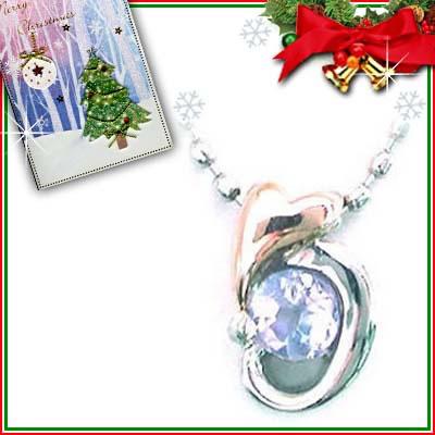 クリスマス限定Xmasカード付( 12月誕生石 ) プラチナ K18PGタンザナイトペンダントネックレス