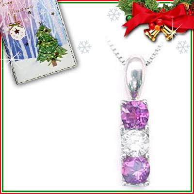 クリスマス限定Xmasカード付( 2月誕生石 ) プラチナ アメジストペンダントネックレス