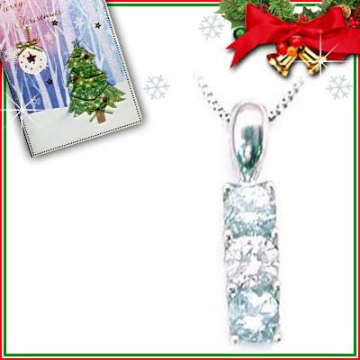 クリスマス限定Xmasカード付( 3月誕生石 ) プラチナ アクアマリンペンダントネックレス