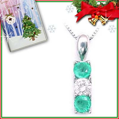 クリスマス限定Xmasカード付( 5月誕生石 ) プラチナ エメラルドペンダントネックレス