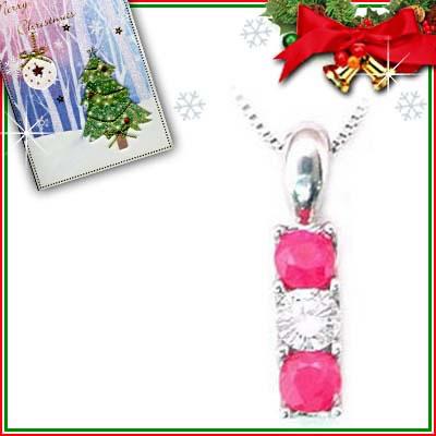 クリスマス限定Xmasカード付( 7月誕生石 ) プラチナ ルビーペンダントネックレス