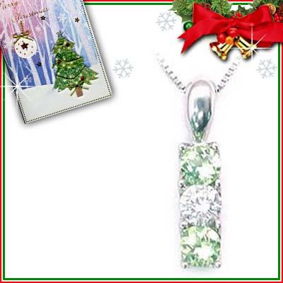 クリスマス限定Xmasカード付( 8月誕生石 ) プラチナ ペリドットペンダントネックレス