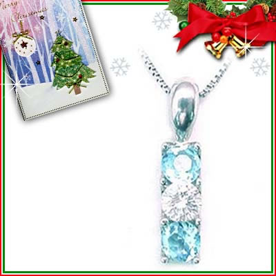 クリスマス限定Xmasカード付( 11月誕生石 ) プラチナ ブルートパーズペンダントネックレス
