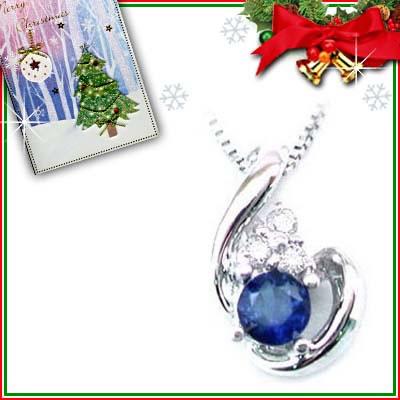 クリスマス限定Xmasカード付( 9月誕生石 ) K18ホワイトゴールド サファイア・ダイヤペンダントネックレス