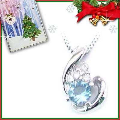 クリスマス限定Xmasカード付( 11月誕生石 ) K18ホワイトゴールド ブルートパーズペンダントネックレス
