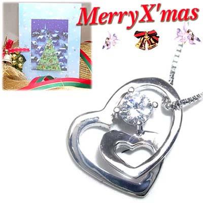 クリスマス限定Xmasカード付( 4月誕生石 ) K18ホワイトゴールドダイヤモンドペンダントネックレス(ハートモチーフ)