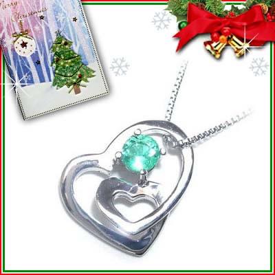 クリスマス限定Xmasカード付( 5月誕生石 ) K18ホワイトゴールドエメラルドペンダントネックレス(ハートモチーフ)