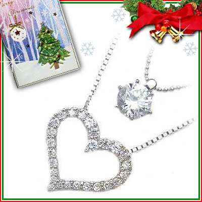 クリスマス限定Xmasカード付( Brand Jewelry me. ) シルバー925・プラチナコーティングペンダントネックレス【DEAL】