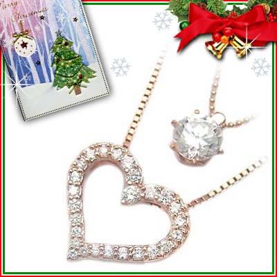 クリスマス限定Xmasカード付( Brand Jewelry me. ) シルバー925・ピンクゴールドコーティングペンダントネックレス【DEAL】
