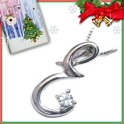 クリスマス限定Xmasカード付「E」イニシャルモチーフ( 3月誕生石 )K10WG アクアマリンペンダントネックレスCanCam掲載【DEAL】