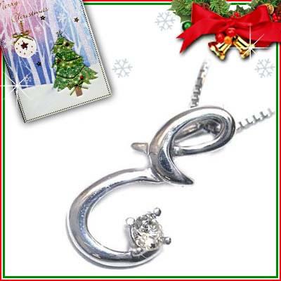 クリスマス限定Xmasカード付「E」イニシャルモチーフ( 4月誕生石 )K10WG ダイヤモンドペンダントネックレスCanCam掲載【DEAL】